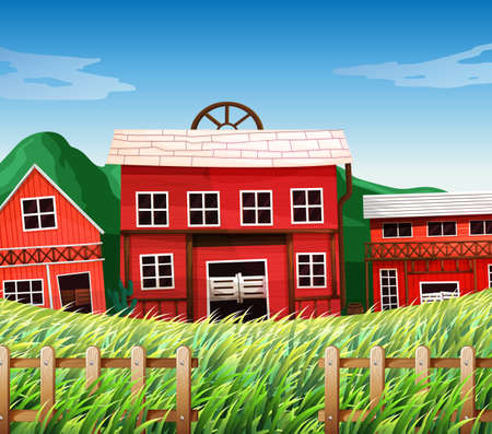 Farm houses with barns scene illustration