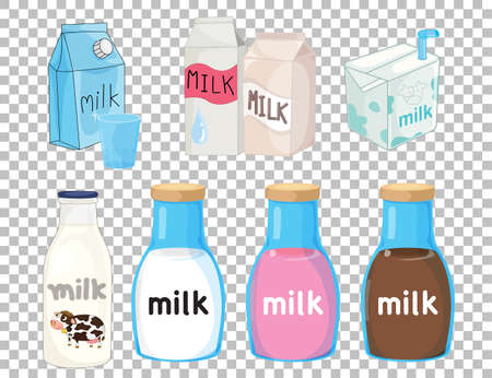 Set of different types of milk package isolated on transparent background illustration Illustration