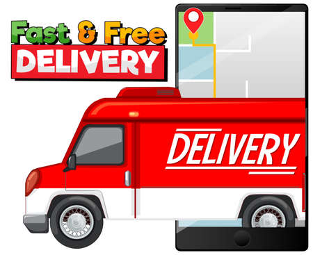 Fast and free delivery  with delivery truck or van illustration