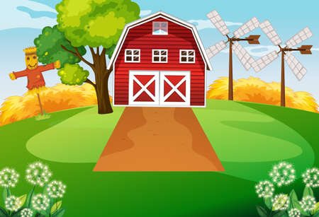 Farm scene with barn and wind mill illustration