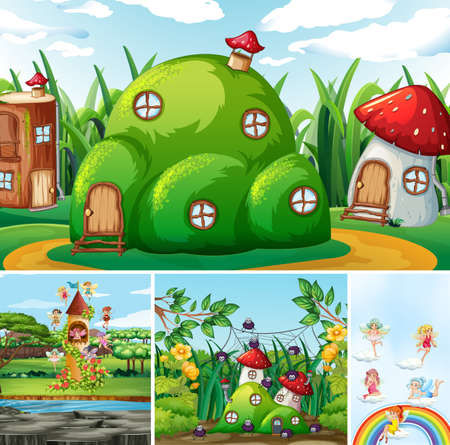 Four different scene of fantasy world with beautiful fairies in the fairy tale and fantasy house and castle illustration