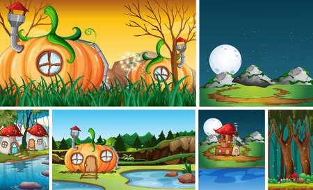 Six different scene of fantasy world with fantasy house illustration Stock fotó