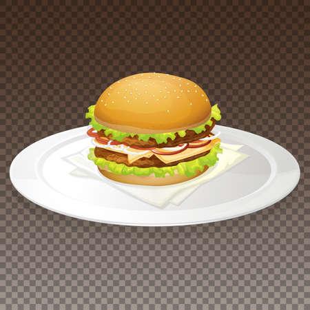 Hamburger on plate transparent background illustration Illusztráció