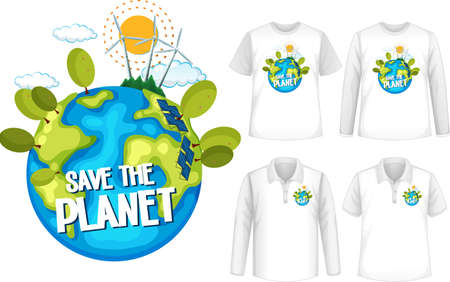 Mock up shirt with save the planet icon illustration