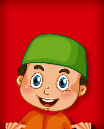 Male muslim cartoon character on colour gradient background illustration