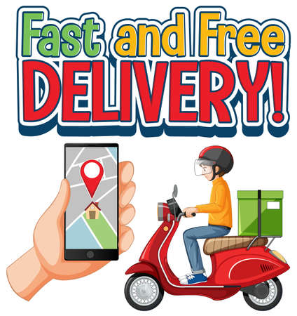 Fast and free delivery  with bike man or courier illustration Illusztráció