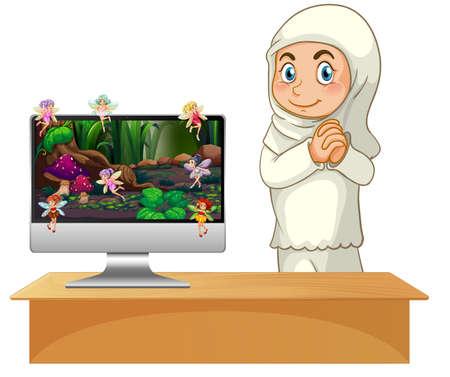 Fairy tale on computer screen illustration