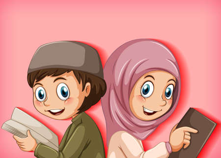 Muslim kids reading from the quran illustration
