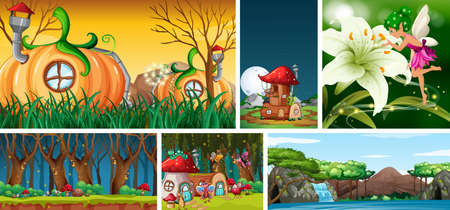 Six different scene of fantasy world with fantasy places and rainbow illustration