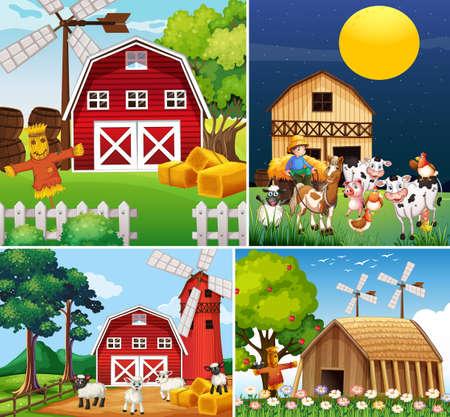 Set of different farm scenes with animal farm cartoon style illustration