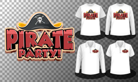 Pirate Party  with Set of different shirts with pirate party  screen on shirts illustration Illusztráció