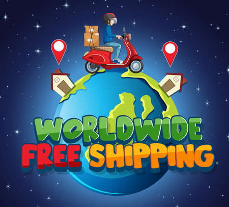 Worldwide free shipping  with bike man or courier illustration