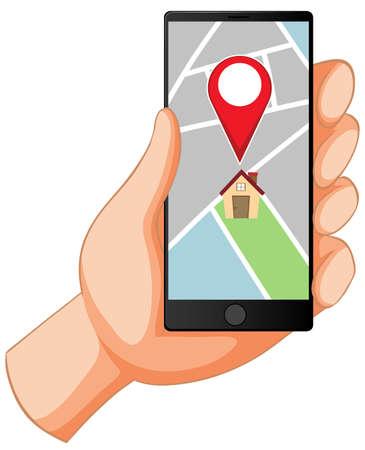 Location pin on mobile application icon illustration Illusztráció