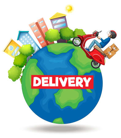Delivery  with bike man or courier riding on the earth illustration