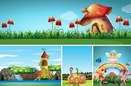 Four different scene of fantasy world with beautiful fairies in the fairy tale illustration