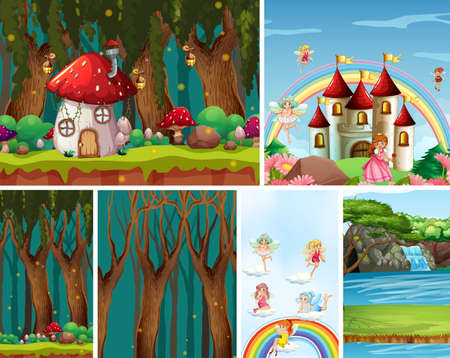Six different scene of fantasy world with nature fantasy places and fantasy characters illustration