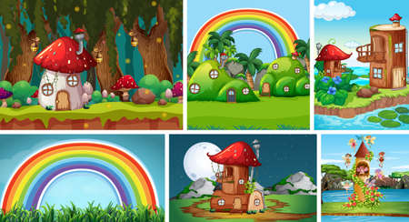 Six different scene of fantasy world with fantasy places such as mushroom village and castle with fairies illustration Stock fotó