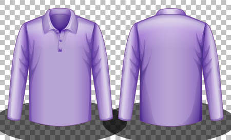 Purple long sleeves polo shirt front and back side illustration