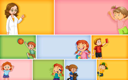 Set of different kid characters on different color background illustration