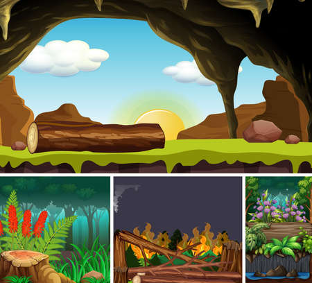 Four different nature scene of forest cartoon style illustration Stock fotó