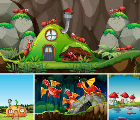 Four different scene of fantasy world with fantasy cartoon character such as dragons and ant with antnest illustration Stock fotó