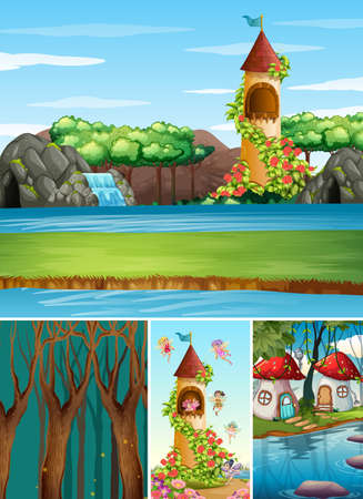 Four different scene of fantasy world with fantasy places such as castle with water fall and mushroom village illustration Stock fotó