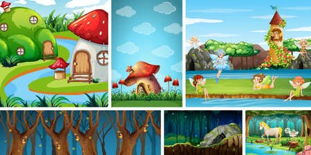Six different scene of fantasy world with fantasy places and fantasy characters illustration Stock fotó