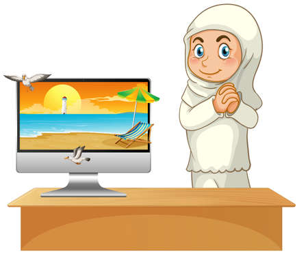 Muslim girl next to computer with beach on screen illustration