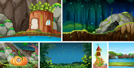 Six different nature scene of fantasy world with fantasy places illustration