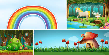 Four different scene of fantasy world with beautiful fairies in the fairy tale and mushroom house and rainbow and unicorn illustration