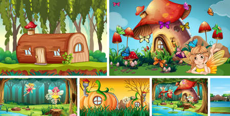 Six different scene of fantasy world with fantasy villages and fantasy characters such as log house and mushroom house and pumpkin house illustration