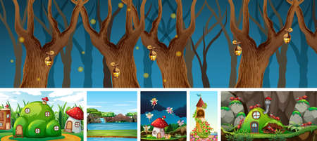 Six different scene of fantasy world with fantasy places such as mushroom house and ant nest illustration