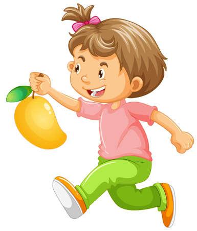 Running girl holding mango illustration Illusztráció
