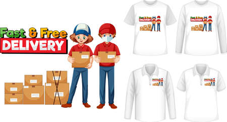Set of different types of shirts with fast and free delivery screen on shirts illustration