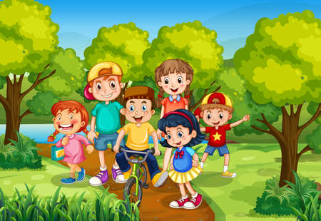 Children playing in the park scene illustration Vetores