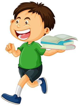 Happy boy holding books isolated illustration