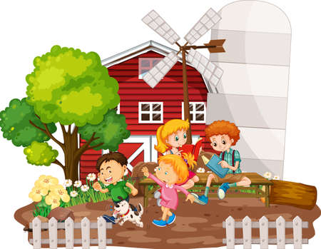 Children with red barn in farm scene on white background illustration