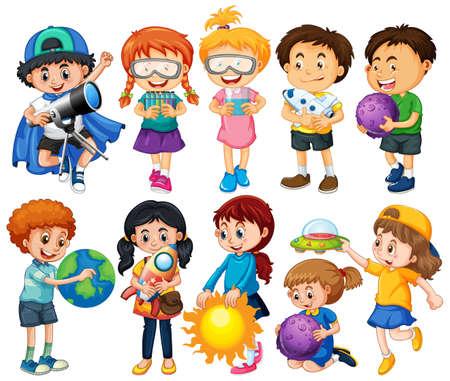 Group of children cartoon character illustration Vetores