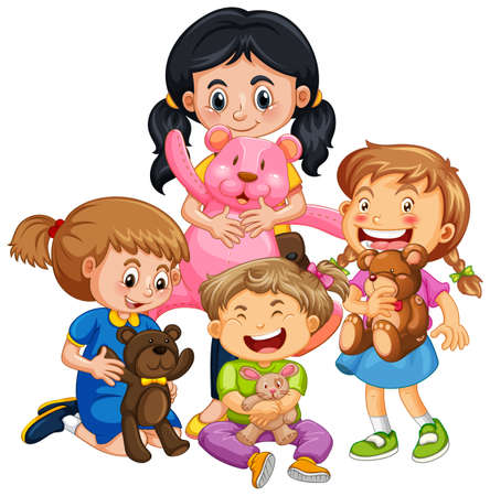 Group of young children cartoon character on white background illustration