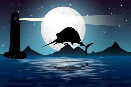 Marlin fish in nature scene silhouette illustration