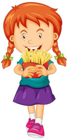 Girl holding french fries illustration