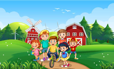 Happy kids playing outdoor nature illustration