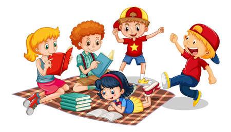 Group of young children cartoon character on white background illustration Vektoros illusztráció