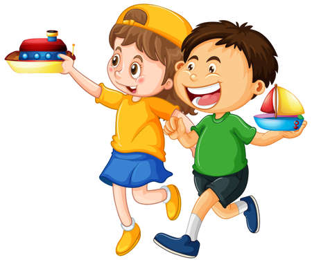Happy children playing toys illustration