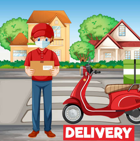 Bike man or courier with delivery illustration
