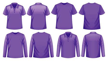 Set of different types of shirt in same color illustration Vecteurs