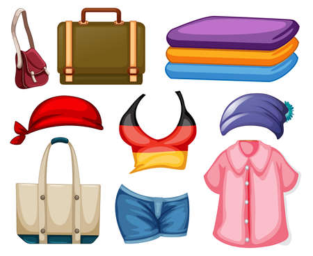 Set of fashion outfits and accessories on white background illustration Vector Illustratie