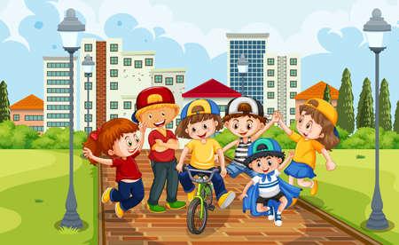 Children group in the park scene illustration Vetores