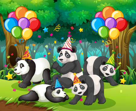 Panda group in party theme cartoon character on forest background illustration Векторная Иллюстрация
