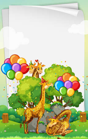 Blank banner with many giraffes in party theme illustration